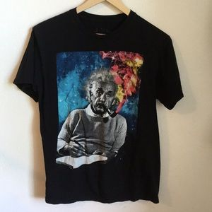 Tops - Einstein smoking galaxy cotton Tee M Unisex